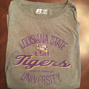 Russell Soft LSU Short Sleeve Tee Shirt, 3XL, EUC